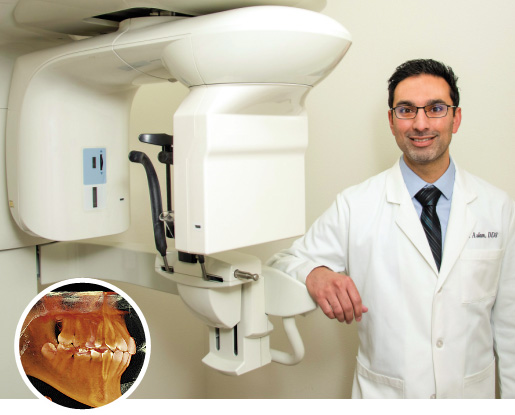 Doctor with high-tech 3D CT scanner